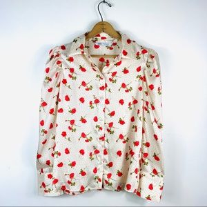 Zara | Cream Rose Floral Button Down Shirt